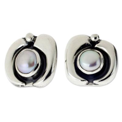 Pearl button earrings