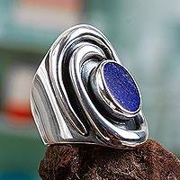Lapis lazuli cocktail ring, 'Tide Pool' - Lapis lazuli cocktail ring