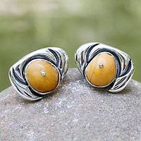 Amber button earrings, 'Royal Honey' - Modern Sterling Silver and Amber Button Earrings