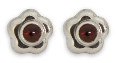 Artisan Crafted Floral Fine Silver and Garnet Earrings