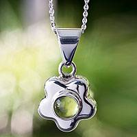 Peridot flower necklace, 'Aztec Daisy' - Artisan Crafted Floral Fine Silver Peridot Necklace