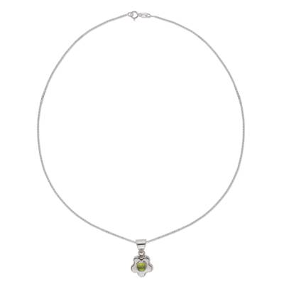 Artisan Crafted Floral Fine Silver Peridot Necklace