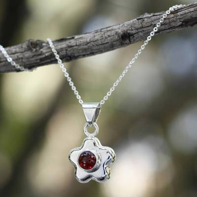 Garnet flower necklace, Aztec Daisy