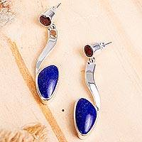 Lapis lazuli and garnet dangle earrings, 'Being Bold' - Lapis Lazuli Silver Earrings with Garnet