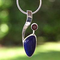 Lapis lazuli and garnet pendant necklace,