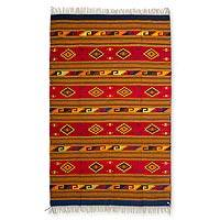 Zapotec wool rug, 'Mitla Butterflies' (6.5x10) - Authentic Zapotec Wool Area Rug (6.5x10)