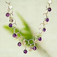 Amethyst waterfall necklace, 'Fiesta in Morelia' - Amethyst waterfall necklace