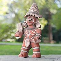 Ceramic sculpture Brave Warrior Mexico