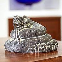 Ceramic sculpture Mexica Rattlesnake Mexico