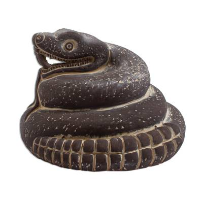 Ceramic sculpture, 'Mexica Rattlesnake' - Ceramic sculpture