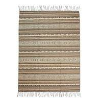 Zapotec wool rug, 'Earthen Sky' (4x6.5) - Hand Made Zapotec Green Wool Area Rug (4x6.5)