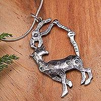Sterling silver necklace, 'Deer Pliers' - Sterling silver necklace