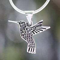 Silver pendant necklace, 'Aztec Hummingbird' - Artisan Crafted Women's Fine Silver Bird Necklace