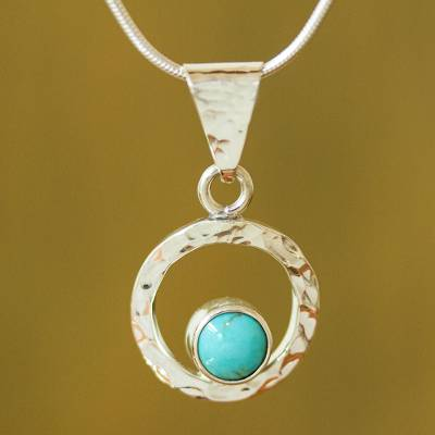 Turquoise pendant necklace, 'Eye of the Sea' - Women's Modern Fine Silver Natural Turquoise Necklace