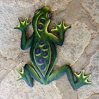 Steel wall art, 'Mexican Tropical Frog' - Unique Hand Painted Green Steel Wall Sculpture