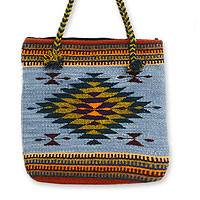 Wool tote bag, 'Zapotec Fantasy' - Geometric Wool Shoulder Bag from Mexico