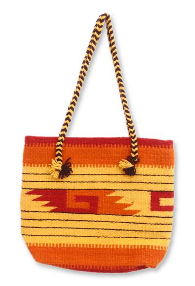 Wool tote bag, 'Zapotec Sunrise' - Artisan Crafted Geometric Wool Shoulder Bag