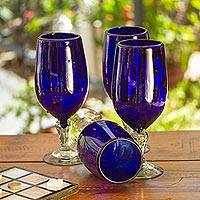 Blown glass goblets, 'Night Sky' (set of 6) - Cobalt Blue Goblets (Set of 6)