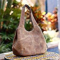 Leather hobo handbag, 'Urban Caramel'