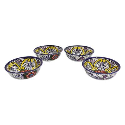 Ceramic dessert bowls, 'Guanajuato Flora' (set of 4) - Fair Trade Talavera Style Bowls Set of 4 Handmade Mexico