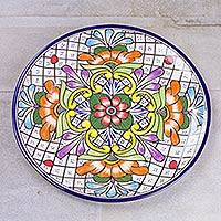 Ceramic platter, 'Guanajuato Flora' - Handcrafted Mexican Ceramic Floral Platter