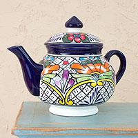 Ceramic teapot, 'Guanajuato Flora' - Artisan Hand Painted Talavera Teapot
