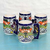 Ceramic beer mugs, 'Guanajuato Flora' (set of 4) - 4 Handcrafted Floral Ceramic 23 oz Beer Mugs from Mexico
