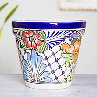 Ceramic flower pot, 'Wild Flowers' - Majolica Ceramic Flower Pot