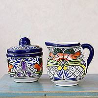 Talavera ceramic sugar bowl and creamer set, 'Guanajuato Flora' - Mexican Fair Trade Floral Ceramic Talavera Sugar and Creamer