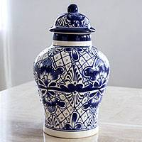 Ceramic jar, 'Cobalt Legacy' - Unique Talavera Style Ceramic Ginger Jar