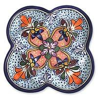 Ceramic appetizer plate, 'A Taste of Mexico' - Hand Crafted Mexican Talavera Style Platter