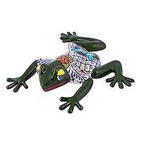 Ceramic figurine, 'Festive Frog' - Mexican Ceramic Frog Sculpture