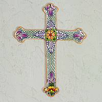 Ceramic cross, 'Morning Glory' - Collectible Talavera Ceramic Cross