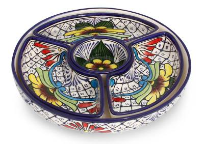 Ceramic appetizer server, 'Daisy Stars' - Fair Trade Mexican Floral Ceramic Platter Canape Serveware