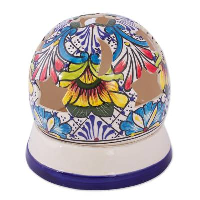 Ceramic candleholder, 'Stars Over Mexico' - Handmade Mexican Talavera Style Candle Holder