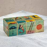 Decoupage chest, 'Loteria' (medium) - Decoupage chest (Medium)