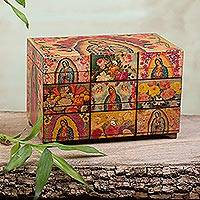 Decoupage box, 'A Bouquet for My Guadalupe' - Catholic Wood Decorative Box
