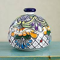 Ceramic bonbonniere, 'Regal Flora' - Handmade Floral Talavera Style Ceramic Bonbonniere Mexico