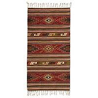 Zapotec wool rug, 'Blossoming Diamonds' (2.5x5) - Collectible Zapotec Wool Area Rug (2.5x5)