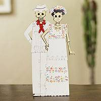 Wood display jigsaw puzzle, 'Yucatecan Skeleton Couple' - Wood display jigsaw puzzle