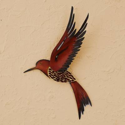 Steel wall sculpture, Ruby Breasted Hummingbird