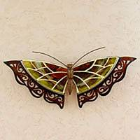 Iron wall sculpture, 'Golden Butterfly' - Yellow Mosaic Glass Wall Sculpture