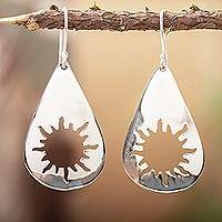 Sterling silver dangle earrings, 'Sun Drops' - Unique Sunshine Sterling Silver Dangle Earrings