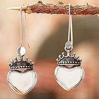 Sterling silver heart earrings, 'Love Coronation' - Taxco Sterling Silver Dangle Earrings