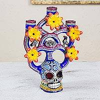 Ceramic candleholder, 'Day of the Dead Tree of Life' (medium) - Handcrafted Floral Ceramic Day of the Dead Candle Holder