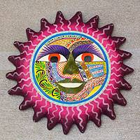 Ceramic wall sculpture, 'Sun of Life' - Hand Painted Pink Sun Ceramic Folk Art Placque