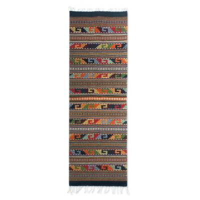 Zapotec wool rug, 'Feast in Monte Alban' (2x6.5) - Zapotec Wool Rug 2 X 6 Multicolor Runner Mexico