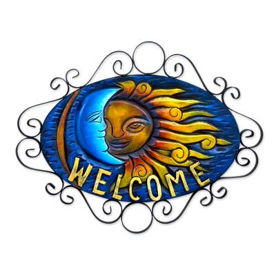 Artisan Crafted Sun and Moon Steel Welcome Sign