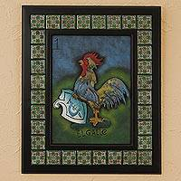 Iron and ceramic wall adornment, 'The Rooster' - Iron and ceramic wall adornment