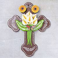 Ceramic wall cross, 'Blossoming Lilies' - Ceramic wall cross